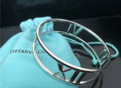 Tiffany & Co. Sterling Silver Atlas Roman Numeral Wide Bangle Bracelet