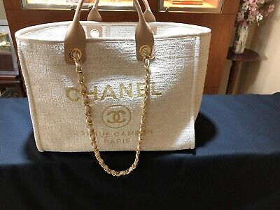 d14c0855f4d4 Nwt Chanel Beige Deauville Tote Gold Tweed Gst Grand Shopping Medium Large  New