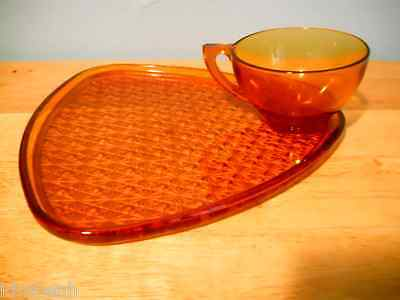"1950 Indiana Glass Daisy & Button Pattern Snack Plate & Cup ""Set for Six"""