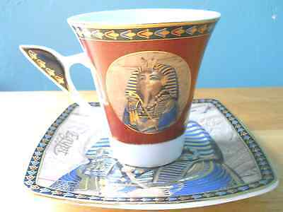 Rare Egyptian, 24 KT OVERLAY FATHI MAHMOUD LIMOGES EGYPTIAN CUP & SAUCER SETS