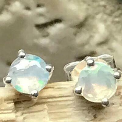 Natural Ethiopian Opal 925 Solid Sterling Silver Stud Earring 4mm Long