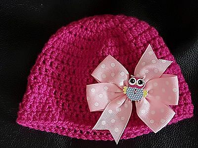 Brand New**Newborn**Baby Girl**Hand Crochet**Pink with Baby Pink Bow and Owl**