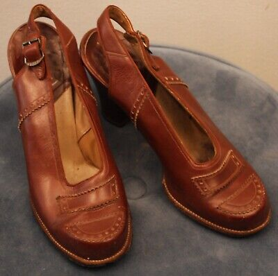 Small  Original Vintage   1943 Womens Brown Sling Back Shoes With Buckle.