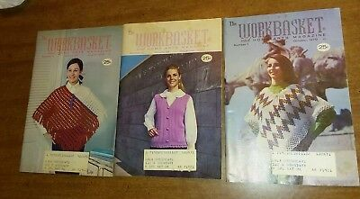Lot of 3 Issues Workbasket Magazines 1970 Knit Crochet MidCentury Style