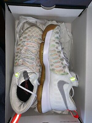 on sale a05f8 15bf1 NEW Nike Zoom KD 9 Durant Summer Pack Gum Bottom White 843392-900 Size 8.5