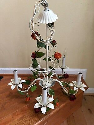 Vintage Chandelier French Country Italian Tole Floral Roses Hanging Five Light