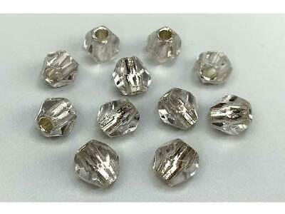 Czech Glass LARGE HOLE Round Helix Beads 10mm Crystal Silver Lined, 40 pcs, P450