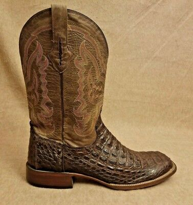 bf457df2c46 LUCCHESE M4539 MEN Crocodile Vamp Genuine Caiman Cowboy Brown Leather Boots  13 D