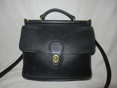 24a29706f1 Authentic COACH Vintage Willis Leather Black Satchel Purse Bag #9927 made  in USA