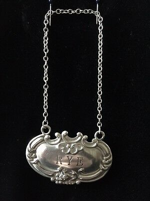 RYE Decanter Tag - Sterling Silver - USA -W-