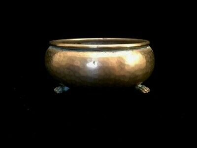 Antique Imperial Russian Hammered Dovetail Copper Footed Claw Foot Bowl - Signed
