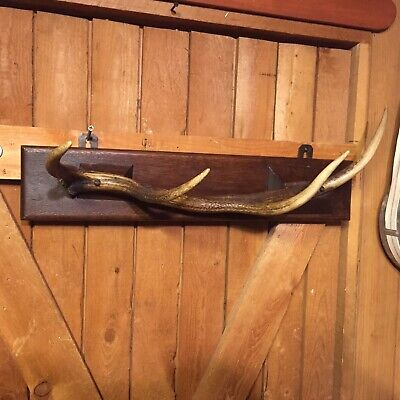 Antique Wood Carved COAT HAT RACK Antler PRIMITIVE Cabin Man Cave Bar Tavern Pub
