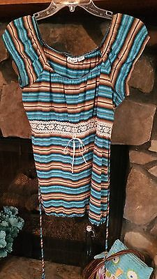 Women's Blouse Size S Turquoise Light Blue Tan Brown Cato Brand Very Pretty Cute