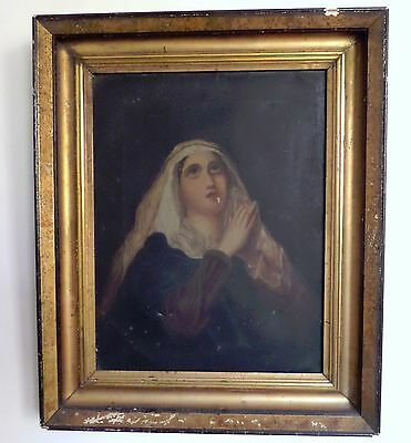 Antique 1800's Genuine Portrait Painting on Canvas, Praying Lady