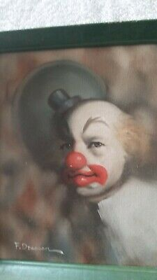 Frank Dressen  signed oil painting of Clown with wood frame