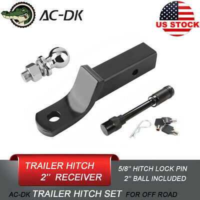 AC-DK 2'' Drop Trailer Tow Hitch With 2'' Hitch Ball and 5/8'' Hitch Lock Pin