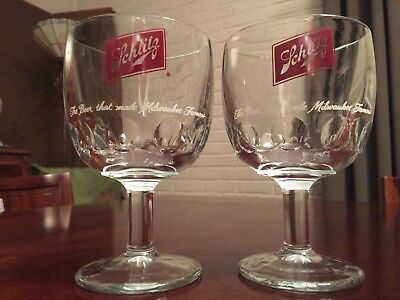 2 SCHLITZ 1970s Beer Glasses - Chalice Goblet Footed Design - SHIPPING INCLUDED!