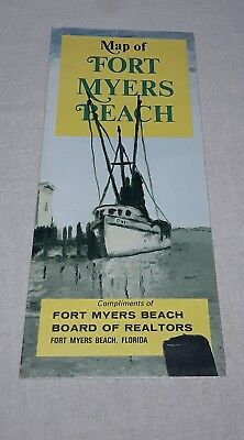 Vintage 1972 Fort Myers Beach Florida Map Brochure