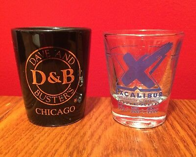 """TWO Chicago Shot Glasses  THE EXCALIBUR and DAVE & BUSTER'S  2"""" Standard 1 oz."""
