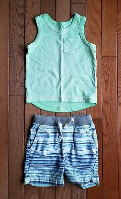 Children Baby Toddler Boy Cat and Jack Neon Green Blue Striped Outfit 12 Months