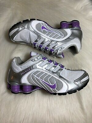 huge selection of e0811 60338 Nike Shox Navina Women s Size 6.5 Purple White Silver Running Sneakers