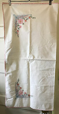Vintage Tablecloth Pink Flower and Geometric Blue Border Embroidery 36 x 36