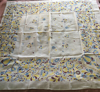 Vintage Linen Tablecloth Yellow Blue White Floral Cutter  or Use 51.5 x 51.5