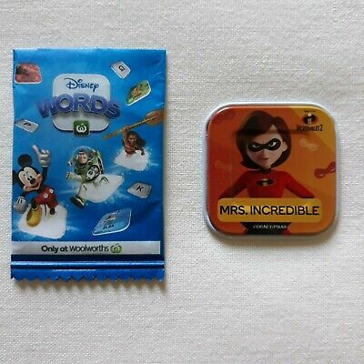 Woolworths Disney Words Tile - Mrs INCREDIBLE - WILD on Back - RARE