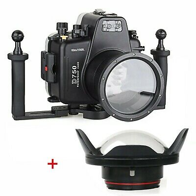 Meikon 60m/195ft Underwater Camera Housing for Nikon D750 +Dome Port+Diving Tray