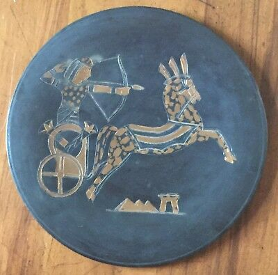 Vintage Copper and Black Plate Egyptian Incised Horse & Chariot Hand Made