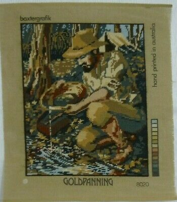 BAXTERGRAFIK NEEDLEPOINT COMPLETED CANVAS - GOLDPANNING 8020 Ready to Frame
