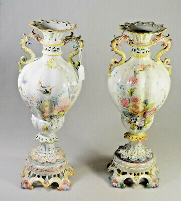 HUGE pair French 1900 marked faience porcelain sea horse dragon vases floral