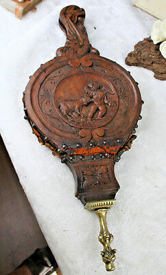 1880 UNUSUAL wood carved victorian putti fireplace blower  gothic freak bellows