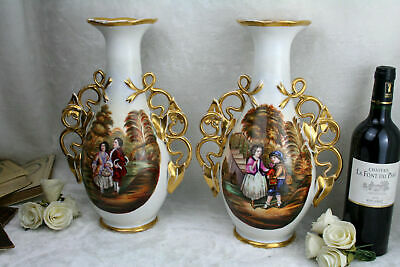 Exclusive Antique 19thc French vieux paris porcelain vases romantic scene rare