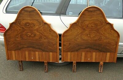 Pair Of Walnut Veneer Single Headboards    Repolished    Delivery Available
