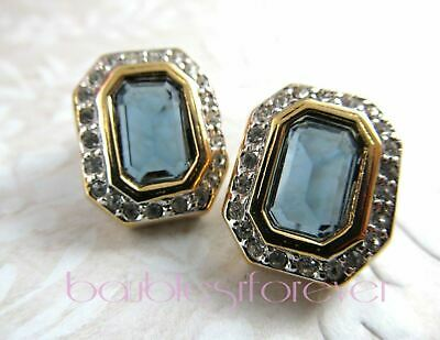 Unsigned Designer Quality Gold Tone Sapphire & Clear Crystal Pierced Earrings