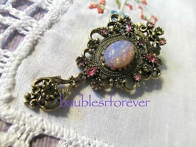 VtG Coventry CONTESSA Pink Green Stones FAUX OPAL Crown Pin Pendant BOOK PIECE