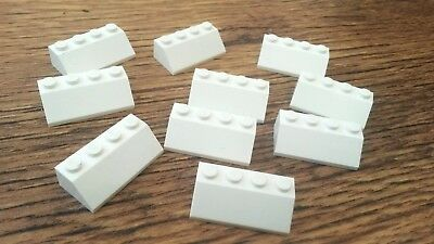 10x White Lego 2 x 4 Sloped Bricks, Used Condition (A776)