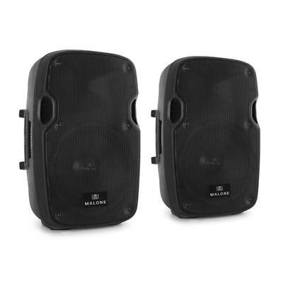 New Malone Active Speaker Pair 2X 400W Max Pa Speakers Mic And Line In - Black
