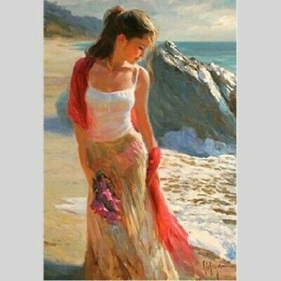 "Hand-painted oil painting canvas ""Beautiful Girl #""Modern Wall Art #165 No Frame"