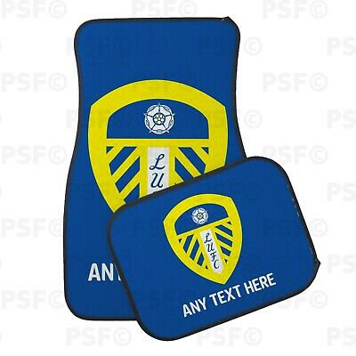 Official LUFC Personalised Car Mats Set of 4 Printed Crest Blue Leeds United FC
