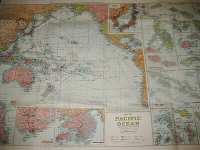 Vintage Map Of Pacific Ocean Mercators Projection Complied By H.e.c. Robinson