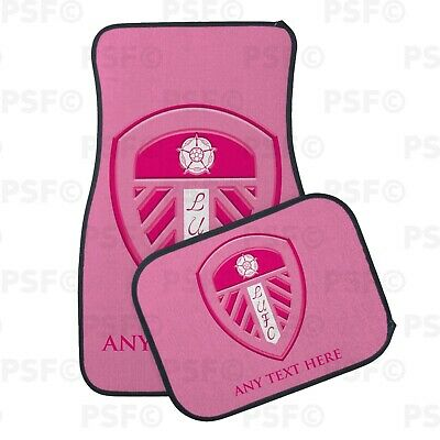 Official LUFC Personalised Car Mats Set of 4 Printed Pink Crest Leeds United FC