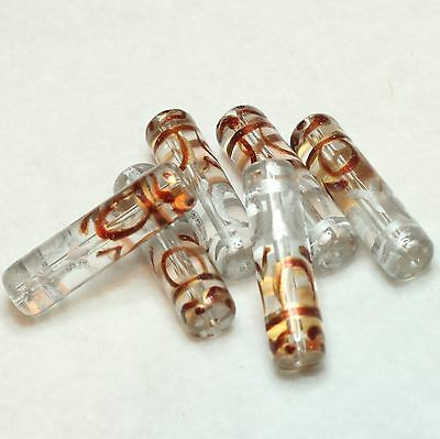 6 INDIAN HAND PAINTED CYLINDRICAL GLASS BEADS 30 x6mm CLEAR/SILVER/GOLD (BBB593)