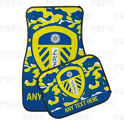 Official LUFC Personalised Car Mats Set of 4 Printed Camouflage Leeds United FC