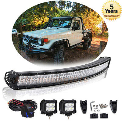 """52"""" inch Curved LED Light Bar + 4"""" CREE Pods Offroad Truck 4WD SUV Cab 50"""