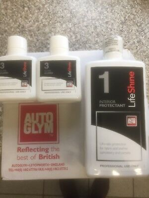 autoglym lifeshine Interior Protectant Cleaner 500 Mill X 1& 2+50mil Glass Guard