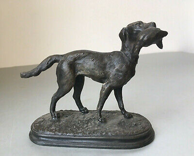 Antique Victorian Spelter Figure Figurine of a Hunting Dog with Partridge Kill