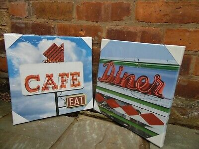 Two American Diner Cafe Canvas Picture Poster Print Wall Art Unframed