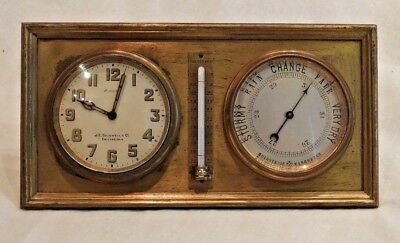 Vintage J.E. Caldwell Co. of Philadelphia Brass Clock, Barometer & Thermometer